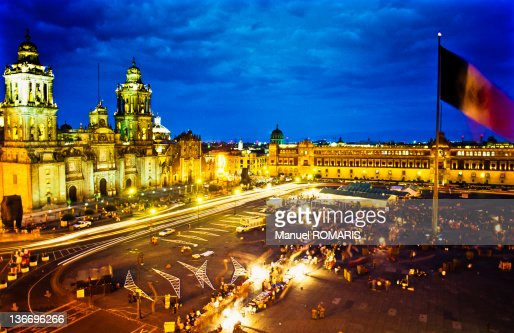 View of Zocalo Square, Mexico City at night : Stock Photo