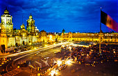 View of Zocalo Square, Mexico City at night