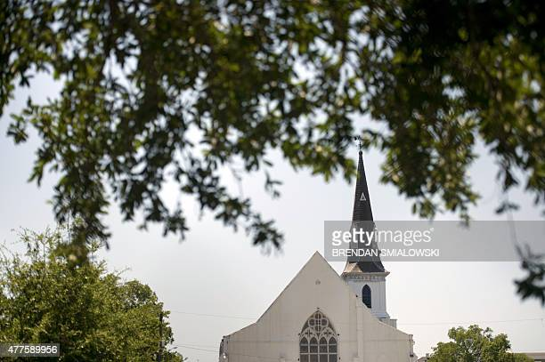 A view ofthe Emanuel AME Church is seen June 18 2015 in Charleston South Carolina after a mass shooting at the church on the evening of June 17 2015...