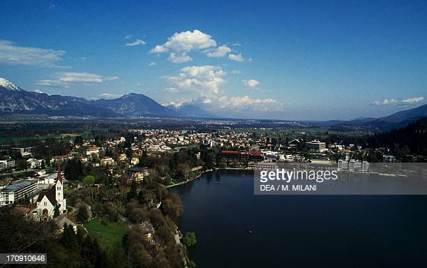 View on Bled from the castle on the lake of the same name Triglav National Park Julian Alps Slovenia