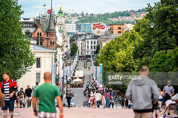 View on crowded Karl Johans Gate, Oslo, Norway