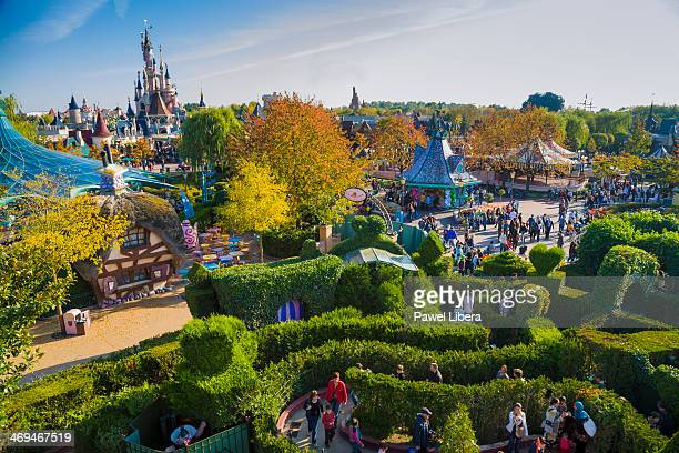 View on Disneyland Park from Alice's Curious Labyrinth Tower at Disneyland Resort Paris in Autumn