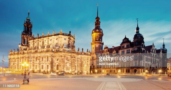 View on Hofkirche from Theaterplatz in Dresden : Stock Photo