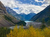 View on the valley and Lake Kinney, part of Mount Robson Provincial Park in Canada