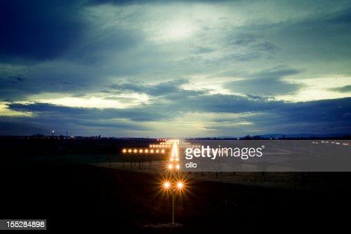 View on navigation lights at dusk
