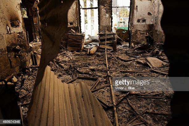 A view on October 14 in Kunduz Afghanistan of the US airstrike on the Medecins Sans Frontieres hospital in Kunduz that took place on October 3 that...