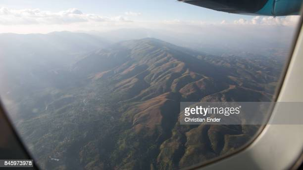 PortauPrince Haiti December 09 2012 View on some massive beautiful mountains from Portau Prince direction to Santiago de Cuba
