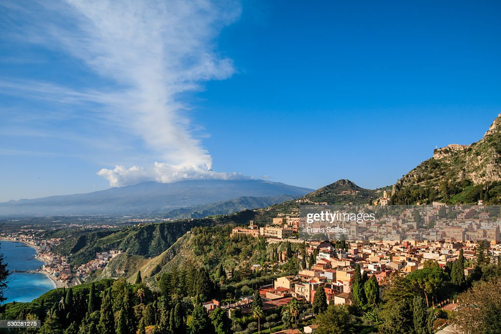 View on Taormina with Mount Etna