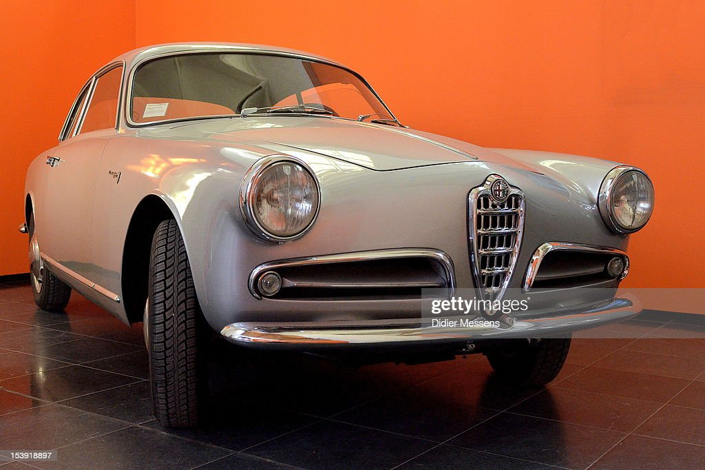 View on the Alfa Romeo Giulietta Sprint 1958 used in the 1970 movie Les Choses De La Vie as seen at The Romy Schneider Exhibition Exhibition at Caermersklooster on October 11, 2012 in Ghent, Belgium.