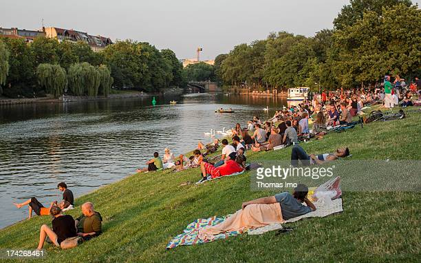 A view on the Landwehrkanal and the Planufer on July 08 2013 in BerlinKreuzberg Germany