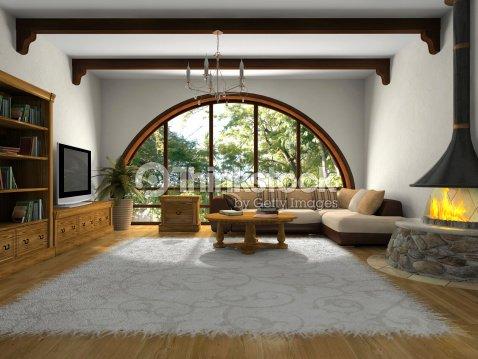 Salotto Moderno Grande : Vista del salotto moderno con grande finestra foto stock thinkstock