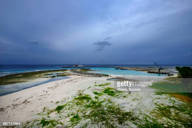 SPRATLY ISLANDS TAIWAN View on the newly built pier that can allowed big ships to dock in Taiping Island The contested island among several regional...
