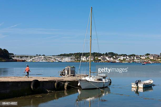 View on the 'pont de Kerisper' bridge and La Trinite sur Mer seen from the coast in Saint Philibert near Crac'h river