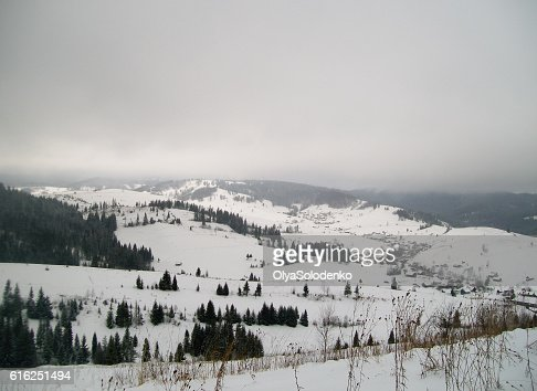 View on the village in winter Carpathians, Ukraine : Stock Photo