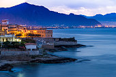 View on Town of Aspra from Bagheria (Palermo province, Sicily, Italy)