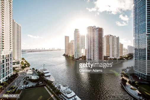 View onto Brickel Key, Miami skyline at sunrise