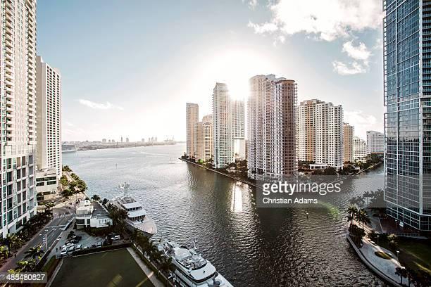 View onto Brickel Key, Miami skyline at sunrise