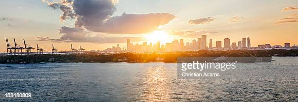 View onto Miami skyline and harbour at sunset