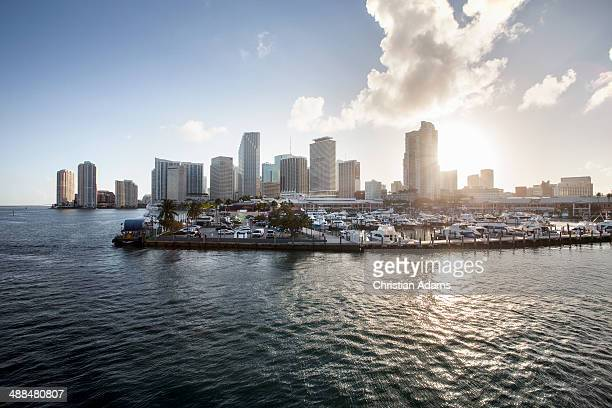 View onto Miami yacht harbour at sunset