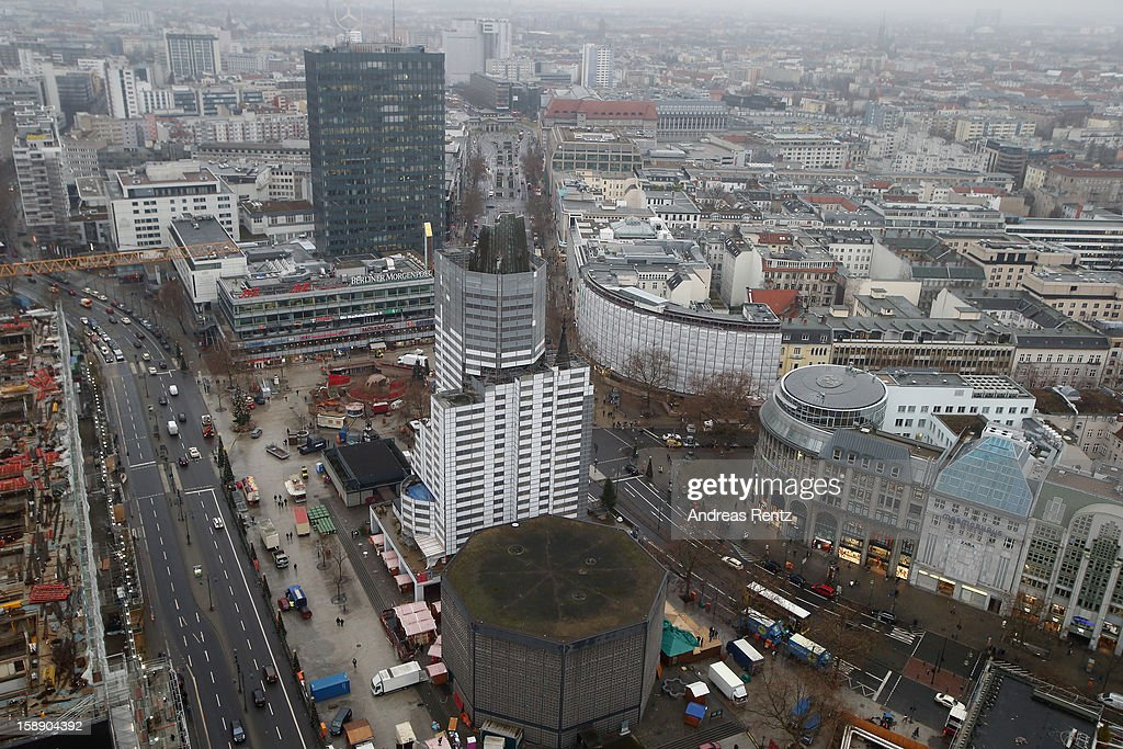 A view out from the workroom of the Presidential suite shows a Berlin city view with the Kaiser Wilhelm Memorial Church during the opening of Germany's first Waldorf Astoria hotel on January 3, 2013 in Berlin, Germany. The luxury Waldorf Astoria Berlin with its 232 luxury guest rooms and suites on 32 storeys is located near the Kaiser Wilhelm Memorial Church (Kaiser-Wilhelm-Gedächtniskirche).