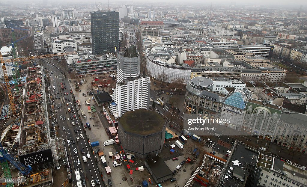 A view out from the workroom of the Presidential suite shows a Berlin city view with the Kaiser Wilhelm Memorial Church during the opening of...