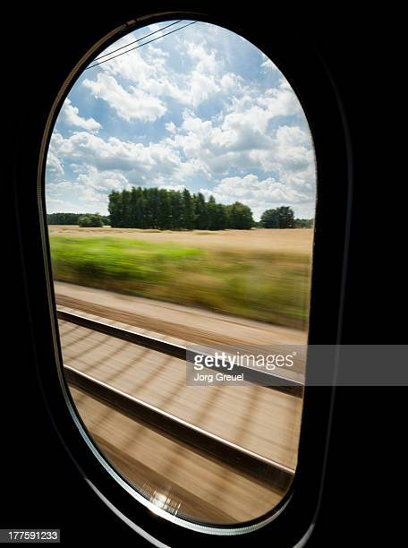 View out of a high speed train