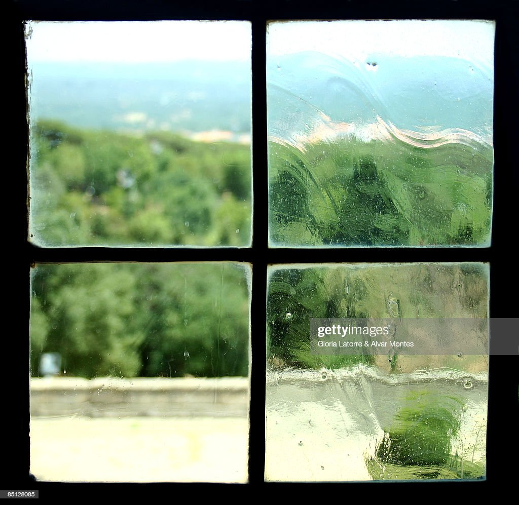 View out of an old paned window : Stock Photo