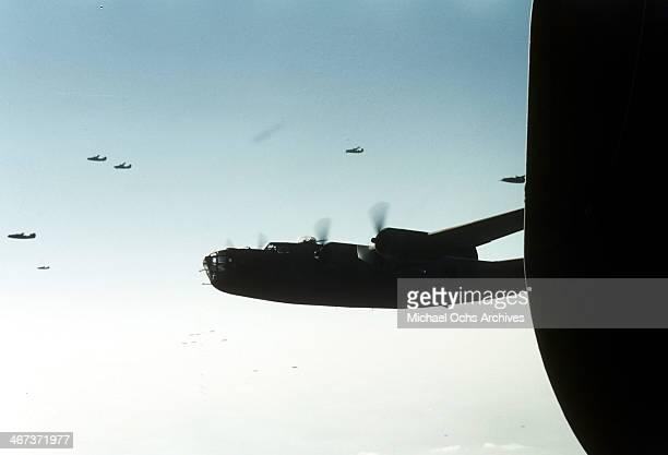 A view out the window of the 376th Bombardment Groups B24 Liberator at the US Air Force Base in Benghazi Libya
