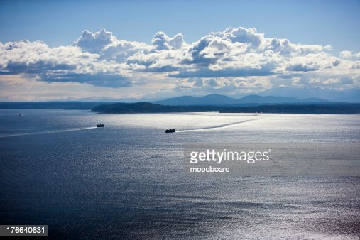 View out to Puget Sound from Space Needle : Stock Photo