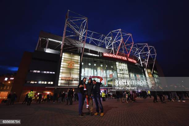 A view outside the stadium before the UEFA Europa League Round of 32 first leg match between Manchester United and AS SaintEtienne at Old Trafford on...