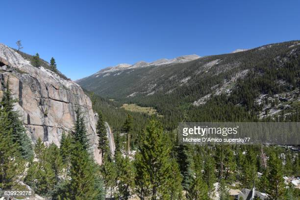 View over a green canyon in the High Sierra