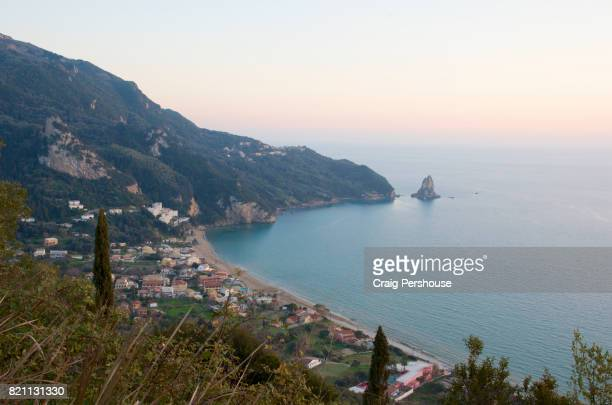 View over Agios Gordios and Ionian Sea.