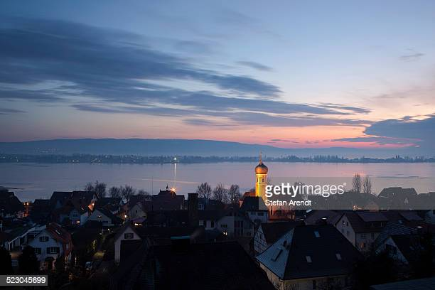View over Allenbach and the island of Reichenau in the evening light, frozen Lake Constance, Baden-Wuerttemberg, Germany, Europe