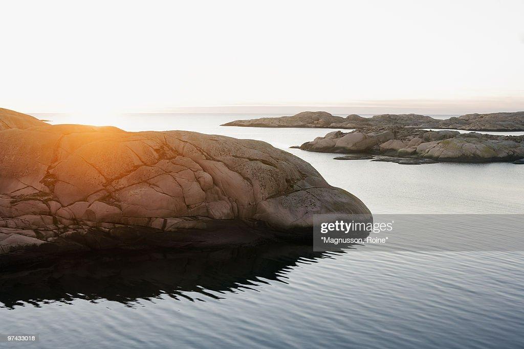View over an archipelago in the evening light, Sweden.