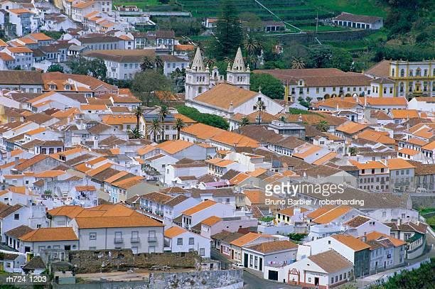 View over Angra do Heroismo, UNESCO World Heritage Site, island of Terceira, Azores, Portugal, Europe, Atlantic Ocean