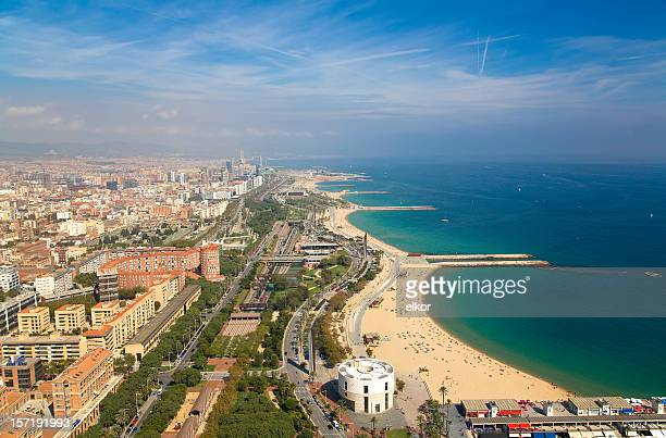 View over Barcelona coastline from the heliport of Torre Mapfre.