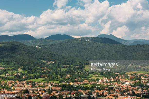 View over Bergamo and Dolomites, Lombardy, Italy