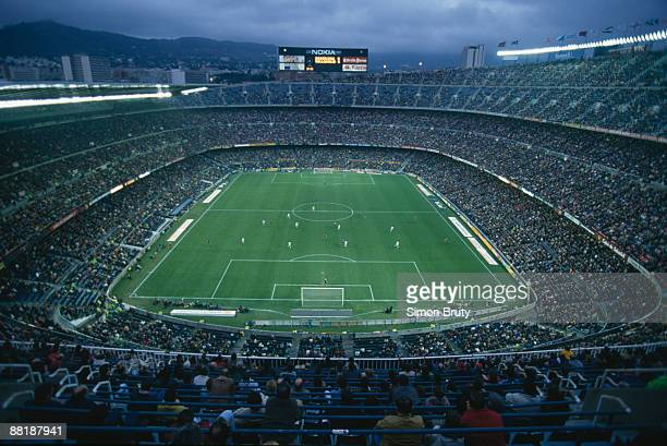 A view over Camp Nou stadium Barcelona during a Spanish league match between FC Barcelona and Real Valladolid Spain 21st January 1996