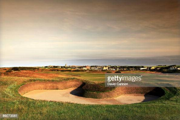A view over 'Hell' bunker on the approach to the green on the par 5 14th hole on the Old Course on July 11 2009 in St Andrews Scotland