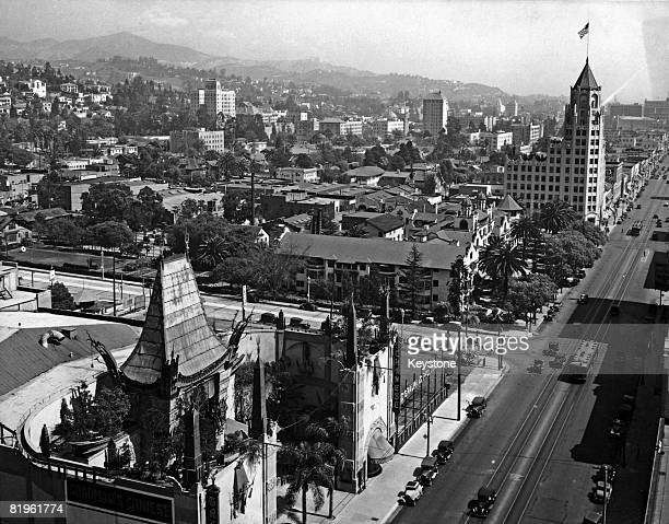 A view over Hollywood Boulevard and Grauman's Chinese Theatre Hollywood California circa 1930 At top right is the Hollywood First National Bank built...