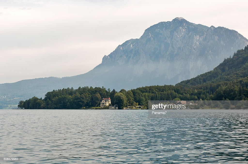 View over lake Attersee in Austrian Alps : Stock Photo