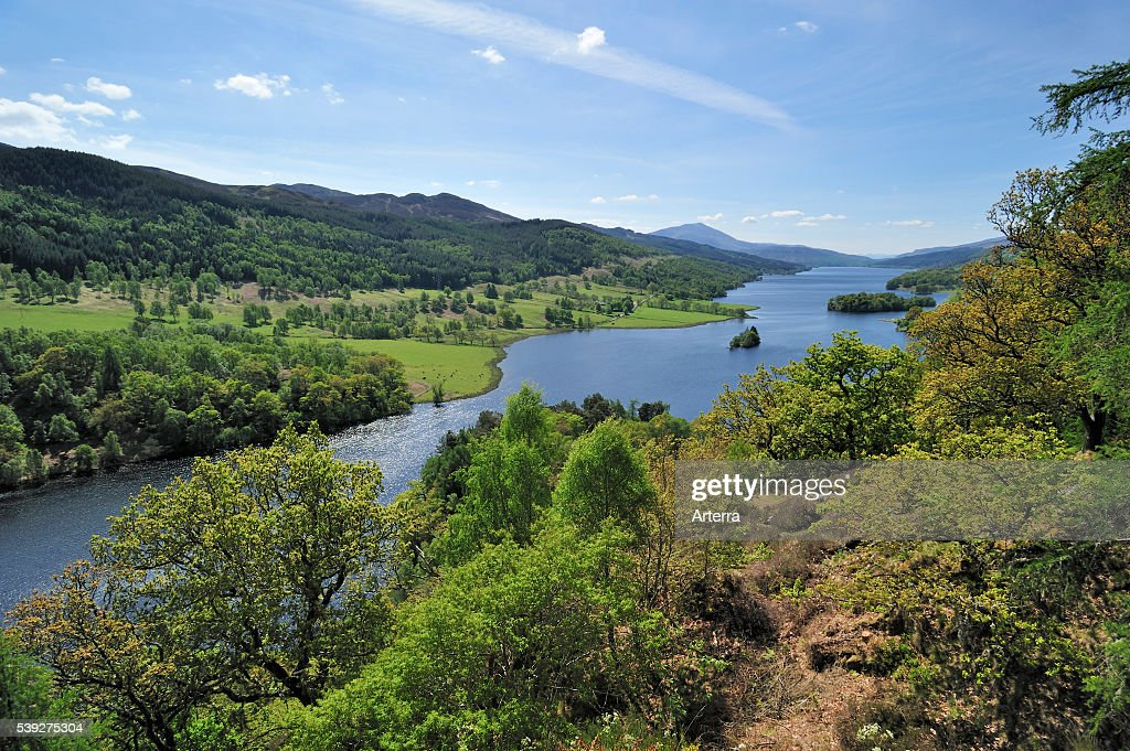 View over Loch Tummel from Queen´_s View near Pitlochry in Perth and Kinross Scotland UK