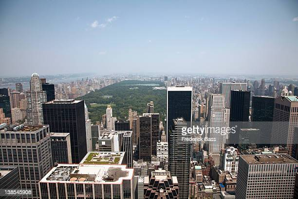 View over Manhattan skyline and Central Park, New York, USA