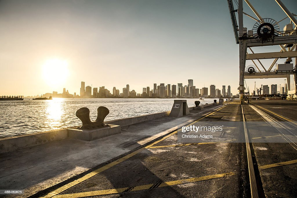 View over Miami harbour docks