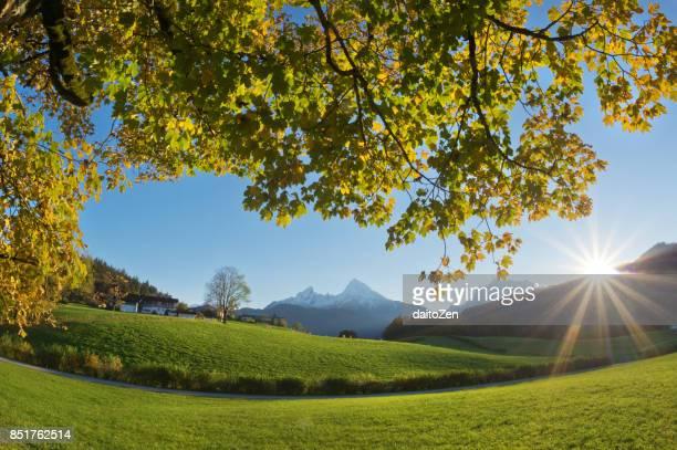View over mountain landscape with Watzmann mountain in late October, Berchtesgaden region, Berchtesgaden National Park, Upper Bavaria, Germany