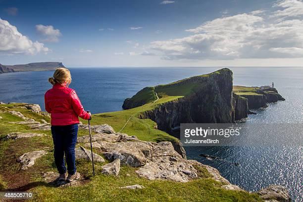 Blick auf den Leuchtturm Neist Point, Isle of Skye