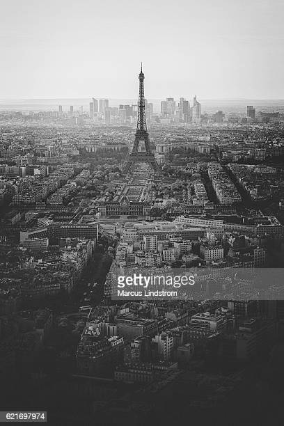 View over Paris in black and white