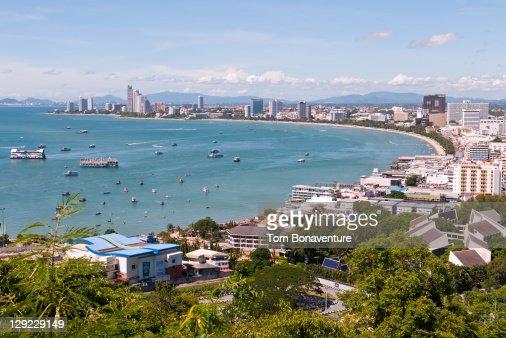 View over Pattaya bay. : Stock Photo