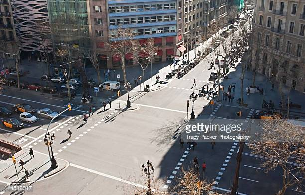 View over pedestrian crossings in Barcelona.