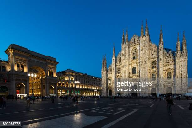 View over Piazza del Duomo to Milan Cathedral and Galleria Vittorio Emanuele II in the evening, Milan, Lombardy, Italy : Stock Photo    Comp           View over Piazza del Duomo to Milan Cathedral and Galleria Vittorio Emanuele II in the evening